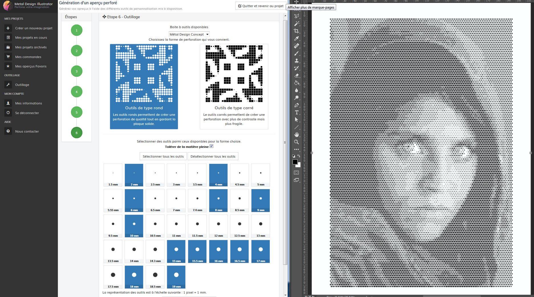logiciel de perforation pour tole decorative
